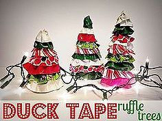 duck tape ruffle trees, christmas decorations, crafts, seasonal holiday decor, Create some whimsical ruffle trees with scrap cardboard and duck tape