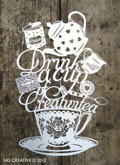 paper cut tea, cups, samantha papercut, teas, art, papers, drinks, design, creativitea