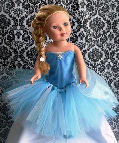 Elsa 18 Doll Tutu Dress by 4EverTuTu on Etsy, $27.00