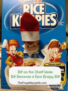 Elf on the Shelf Ideas: Elf Becomes a Rice Krispy Elf! #elfontheshelf #elfshelf #christmas