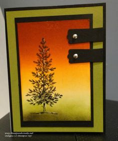 Lovely as a tree card by Deborah Smart.... used brayer & SU's Classic Inks in Daffodil Delight, Pumpkin Pie, and Cajun Craze..... then along the bottom sponged Old Olive and Basic Black..... stamped tree with VersaMark Black and highlighted it using the uni-ball Signo Gel Pen in white