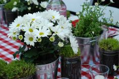 Like the grass as centerpieces. In galvanized buckets?