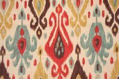 Ikat Pattern Fabric :: Richloom  Printed Linen Blend Drapery Fabric in Persian, back in stock at Karen's Fabrics.