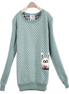 Green Dot Rabbit Round Neck Long-sleeved Sweatshirt$36.00