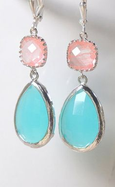 Large Turquoise Teardrop and Grapdefruit Pink Dangle
