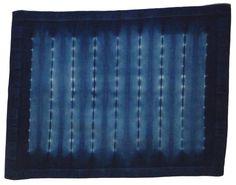 Two indigo shibori cotton and rayon sateen napkins