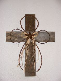 wooden crosses, barn wood cross, rustic crosses, barbed wire cross, cross wood crafts, barb wire crafts, crosses crafts, rustic wood, cross decorations