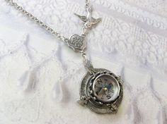 Silver Compass Necklace Silver Homeward Bound by birdzNbeez