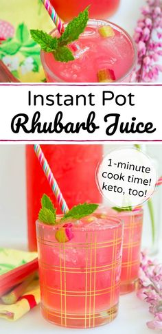 This Keto Instant Pot Rhubarb Juice has just 2 ingredients and cooks in 1 minute in your pressure cooker! Use up an abundance of rhubarb and enjoy this healthy, homemade pink drink all summer long! Instant Pot Rhubarb Juice is low-carb, paleo, and Trim Healthy Mama-friendly, too! #allthenourishingthings #instantpot #instantpotrecipes #rhubarb #healthysummerdrinks #keto #lowcarb #sugarfree