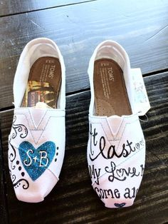 CUSTOM Personalized Hand Painted Wedding Toms Shoes by ShelbyZee, $139.00