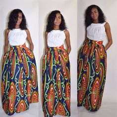 African Print Maxi Skirt by ChenBCollection on Etsy, $129.00