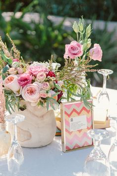modern wedding centerpiece, photo by The Melideos http://ruffledblog.com/leo-carrillo-ranch-wedding #centerpieces #weddingideas