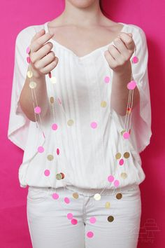 Neon gold dot mini garland.