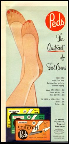 1957 ad for Peds Foot Covers. #vintage #1950s #hosiery #ads