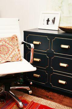 Furniture re-do. Gold hardware, black & gold paint.