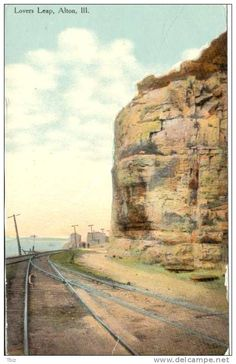 Alton Illinois Postcard | AB546 Lovers Leap Alton Illinois Ill IL 1911 Bluffs Railroad ...