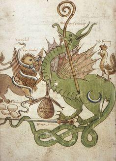 houghton librari, dragons, roosters, art, griffins, illumin manuscript, snakes, illuminated manuscript, mediev