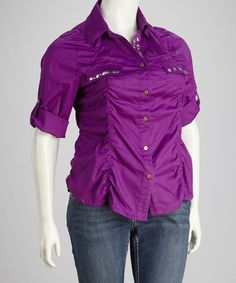 Take a look at this Purple Plus-Size Button-Up by Apple Bottoms on #zulily today!