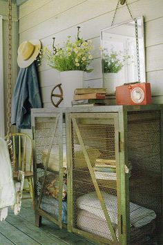 I like the idea of putting a hook or two out on the screened porch (for 'sun hat', etc. cool screened cabinet