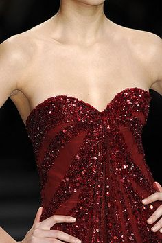 Elie Saab fall 2008 #red #sweetheart #beaded #sequins