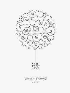 D Wedding by Črtomir Just, via Behance - elegant lettermark & organic illustration