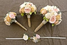 Romantic Wedding Bouquet -Small Alternative Natural Sola Flower Bridal Bridesmaid Bouquet, Keepsake Wood Bouquet, Shabby Chic Rustic Wedding. $100.00, via Etsy.