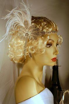 1920s Wedding Headpiece Rhinestone Ostrich by LWilsonFashion, $129.99