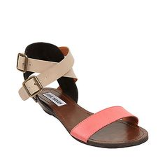 Loving the coral (and tangerine) color of spring! Color blocking flat sandals? Yes, please!