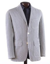 On my radar: Cotton unconstructed 3-Pocket Patch Jacket - grey; 100% cotton; garment dyed; 2 pocket flaps; center vent