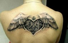 steampunk heart with wings tattoo -