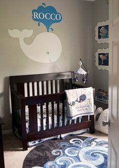 Whale/Ocean themed nursery. I LOVE THE WHALE ON THE WALL!!