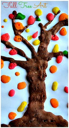 Fun fall tree art and craft activity. Simple homemade paint recipe included to create this art