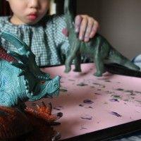 painting dinosaur tracks
