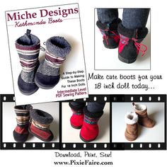 Like the Toms Nepal boots? Then you'll love the Kathmandu 18 inch Doll Boots PDF sewing pattern - Download, Print, Make cute shoes for your doll! Pixie Faire