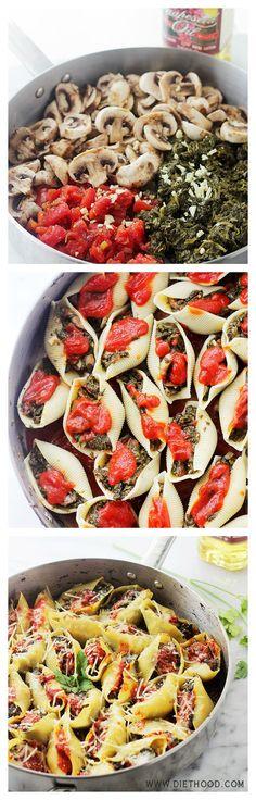 Stuffed Shells Florentine -Jumbo Pasta Shells stuffed with a flavorful spinach, tomato, and mushroom mixture.
