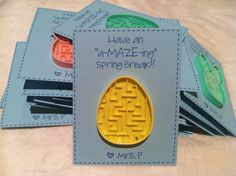 You can get those mazes at the Dollar Tree.  You can adapt these cards for Christmas, Testing Week, End of the Year, etc.