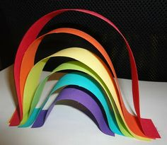 "Paper rainbows activity to go with the book ""What Makes a Rainbow"" - also good for practicing ordering by size activities for kids, paper rainbow, rainbow activities"