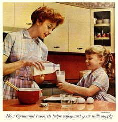 Love the matching mother and daughter dresses! #mom #mother #daughter #dress #cute #milk #1950s #ad #vintage #fifties #food #retro #kitchen