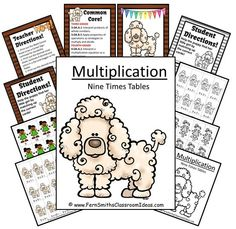 Fern Smith's FREE Puppy Themed Nines Times Tables Quick and Easy Center and Printables #ClassroomFreebies