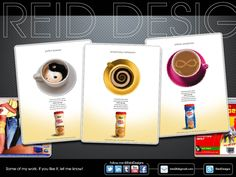"""Coffee-Mate ideas, Never produced. Client thought they were """"too high."""""""