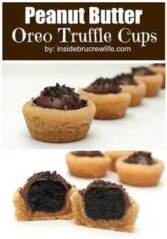 Peanut Butter Oreo Truffle Cookie Cups - peanut butter cookies with an Oreo truffle inside is the best way to eat two cookies at once