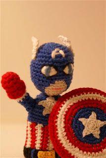 Captain America finger puppet ~ free pattern