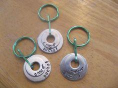 Hand Stamped Washer Keychain