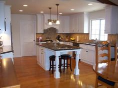 kitchen islands with seating for 4 | Smaller island with end seating | NEW HOME IDEAS