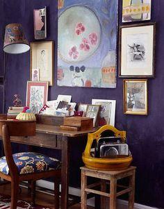 Color Palette Inspiration wall colors, blue walls, offic, dark walls, wall treatments, desk areas, wall colours, bohemian interior, art walls