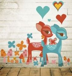 Retro deers on wall