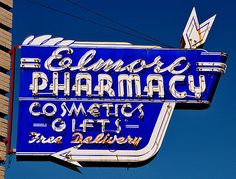 pharmaci sign, neon signs, vintage signs, gifts, old signs, vintag neon, vintag sign, elmor pharmaci, red bluff