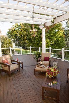 Dark wood deck with Trex deckboards. Good pergola too! #Trex #Outdoor Living  www.trex.com
