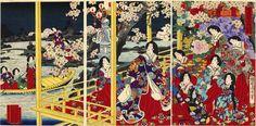 "Evening Cherry Blossoms | Tattoo Ideas & Inspiration - Japanese Art | Chikanobu - Setsugekka no Uchi Series, 1888 | ""An evening party: cherry blossoms and boating"" | #Japanese #Art"