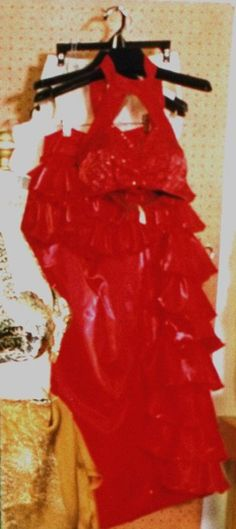 SELENA PLANNED TO WEAR THIS RED OUTFIT FOR HER CONCERT IN LA.. ON APRIL 2, 1995, SADLY IT NEVER HAPPENED.